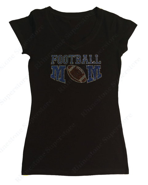 Womens T-shirt with Saphirre Football Mom in Rhinestones