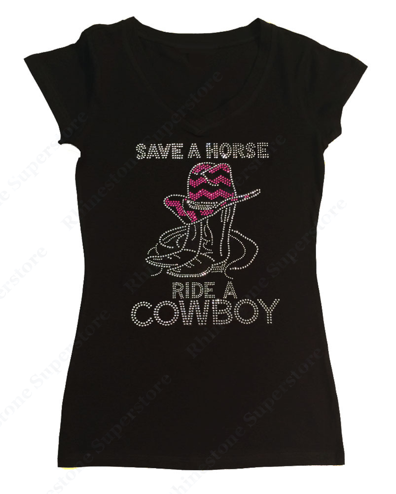 Womens T-shirt with Save a Horse Ride a Cowboy in Rhinestones