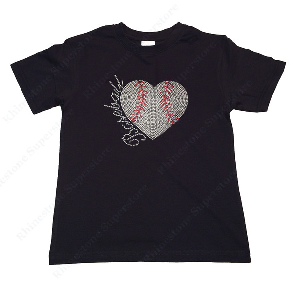 "Girls Sequence T-Shirt "" Sequence Baseball Heart "" Size 3 to 14 Available"