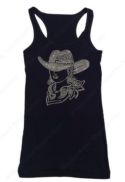 Womens T-shirt with Sexy Cowgirl with Hat in Rhinestones