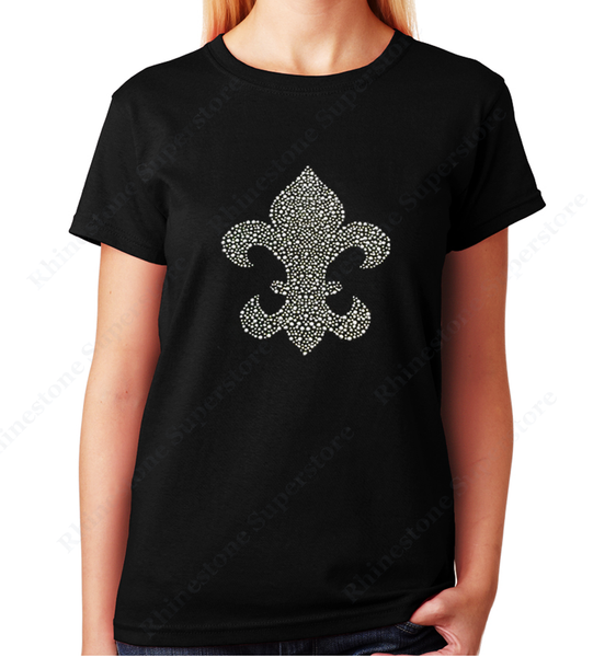 Women Unisex T-Shirt with Silver Fleur de lis in Rhinestuds Crew Neck