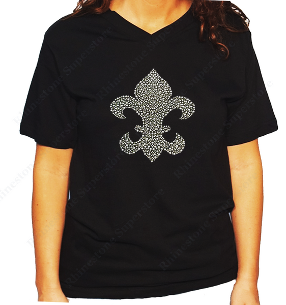 Women Unisex T-Shirt with Silver Fleur de lis in Rhinestuds V Neck