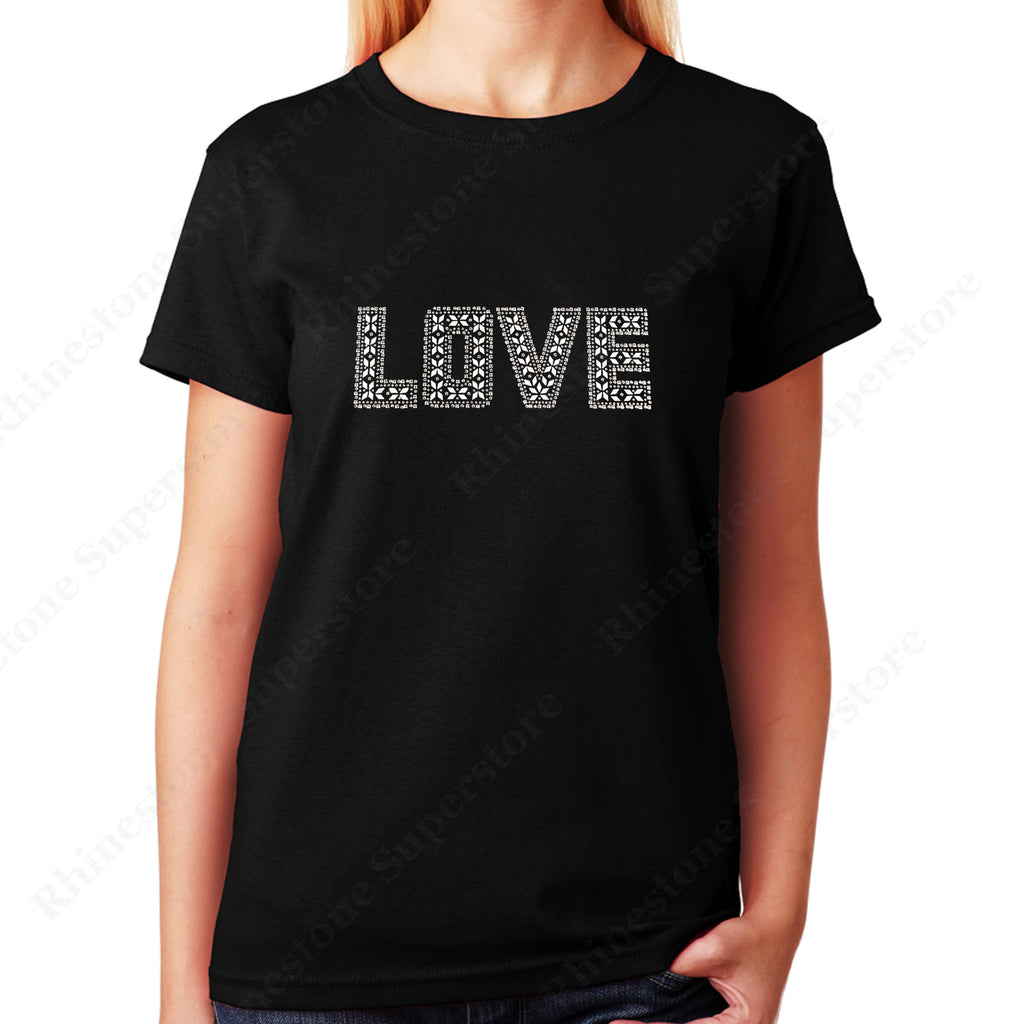 Women's / Unisex T-Shirt with Silver Love in Rhinestuds
