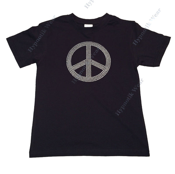 "Girls Rhinestud T-Shirt "" Silver Peace Sign "" Sizes 3 to 14 Available"