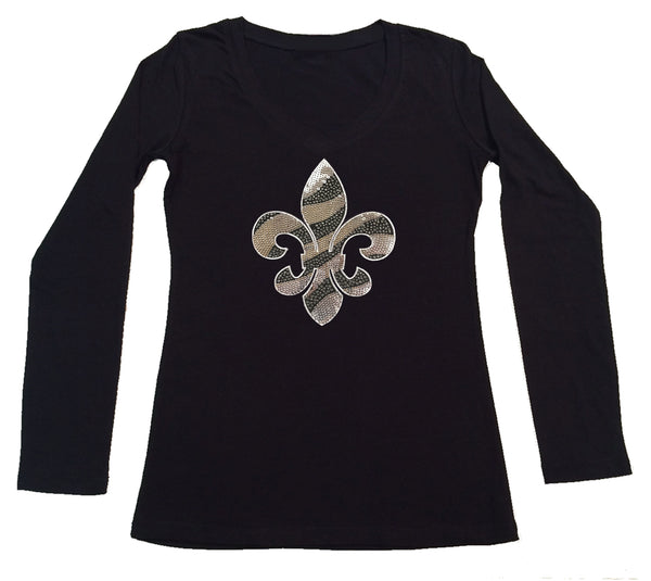 Womens T-shirt with Silver Sequins and Rhinestones Fleur de Lis