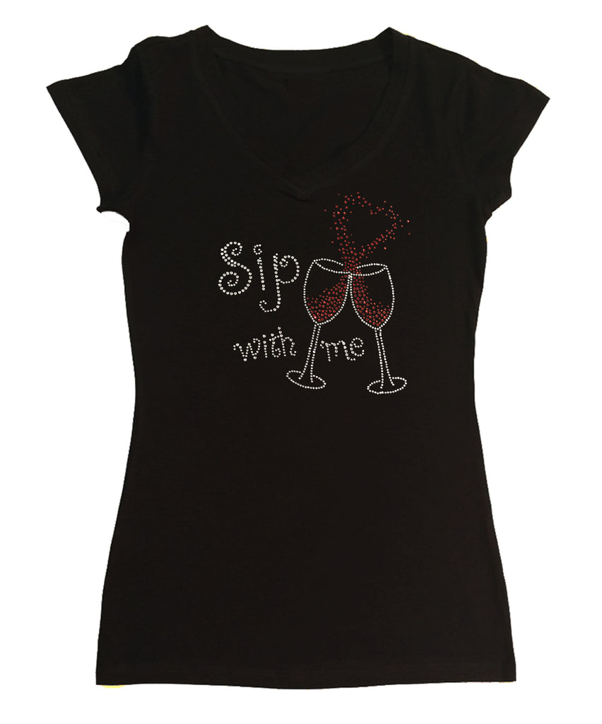 Sip with Me Wine Cups with Heart in Rhinestones
