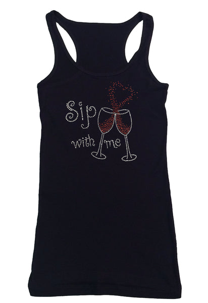 Womens T-shirt with Sip with Me Wine Cups with Heart in Rhinestones