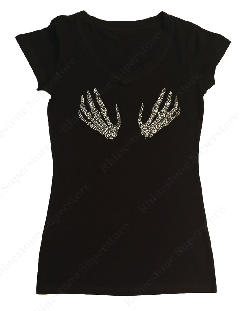 Womens T-shirt with Skeleton Hands in Rhinestones