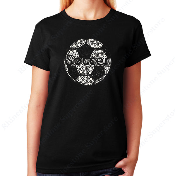 Unisex T-Shirt with Soccer Ball in Rhinestuds