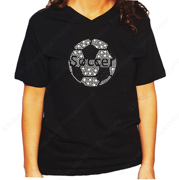 Women's / Unisex T-Shirt with Soccer Ball in Rhinestuds