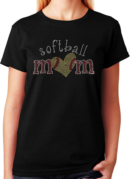 Softball Mom with Heart in Rhinestones