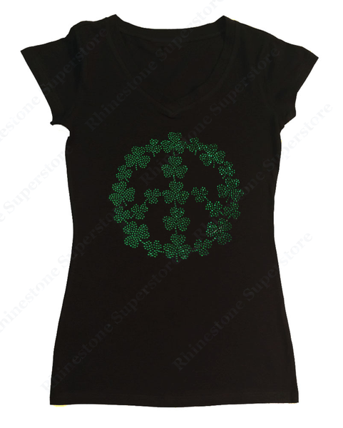 Womens T-shirt with St. Patricks Day Peace Sign in Rhinestones