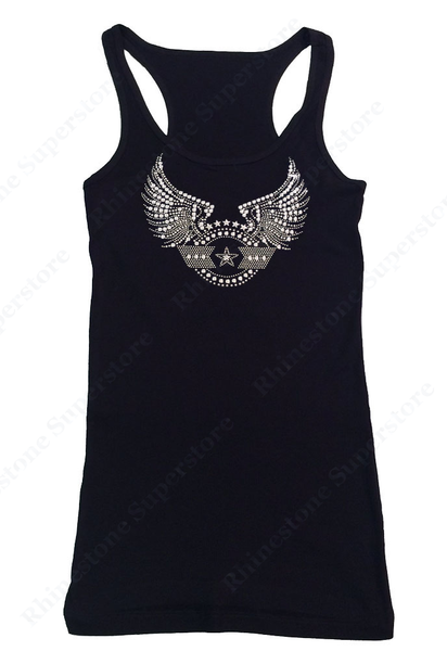 Womens T-shirt with Stars with Wings in Rhinestones