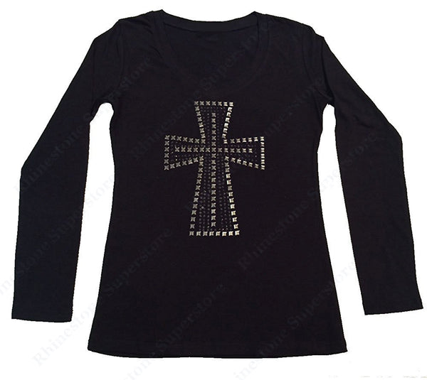 Womens T-shirt with Silver Cross in Rhinestones