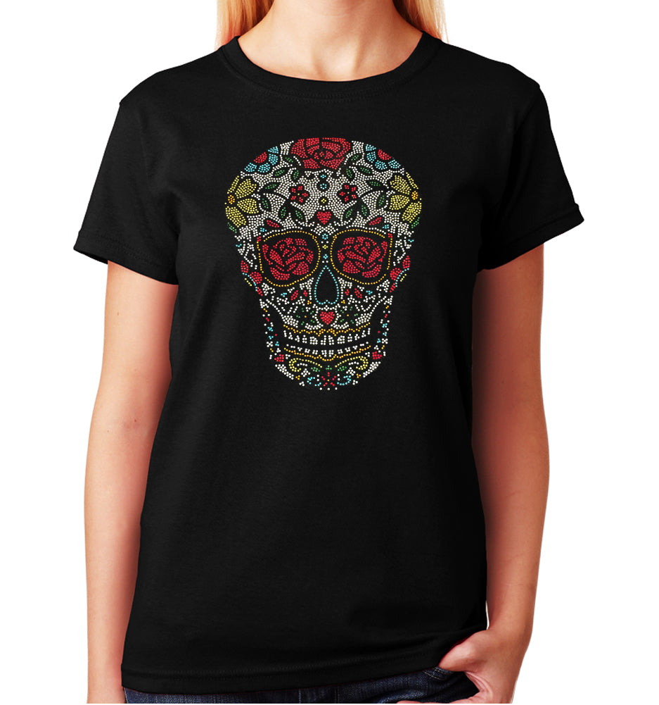 Women's / Unisex T-Shirt with Sugar Skull with Roses in Rhinestones