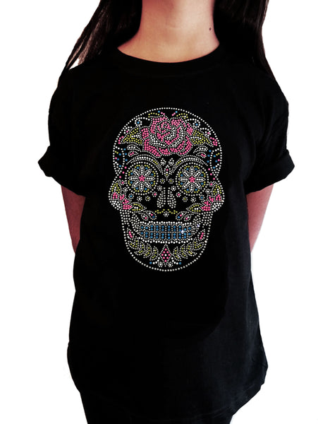 Sugarskull with Flower in Rhinestones