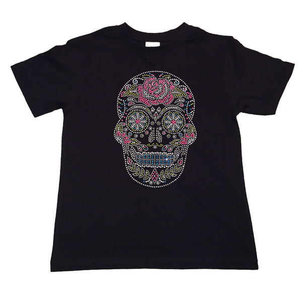 "Girls Rhinestone T-Shirt "" Sugarskull with Flower in Rhinestones"" Kids Size 3 to 14 Available"