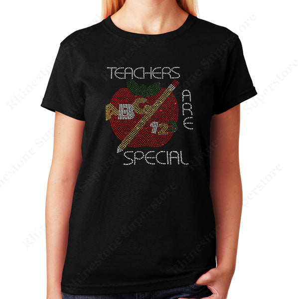 Unisex T-Shirt with Teacher are Special with Red Apple in Rhinestones