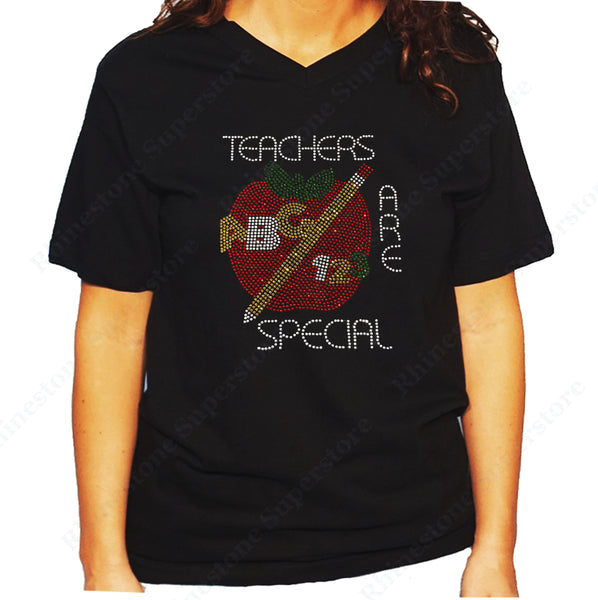 Women's / Unisex T-Shirt with Teacher are Special with Red Apple in Rhinestones