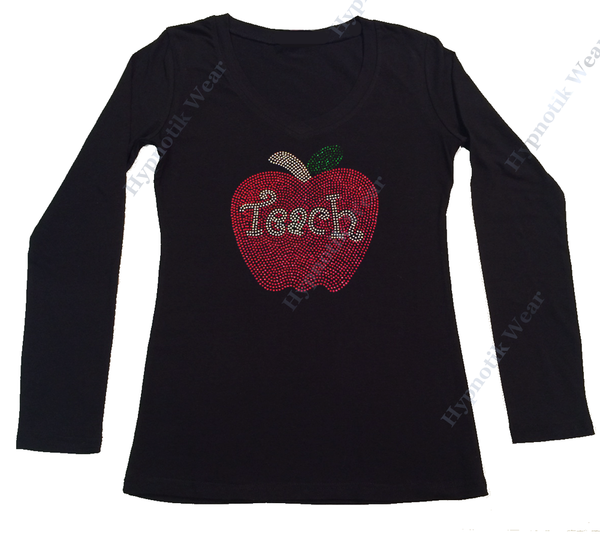 Womens T-shirt with Teacher with Apple in Rhinestones