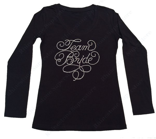 Womens T-shirt with Team Bride in Rhinestones