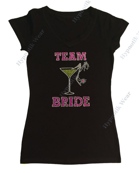 Womens T-shirt with Team Bride with Heel in Rhinestones