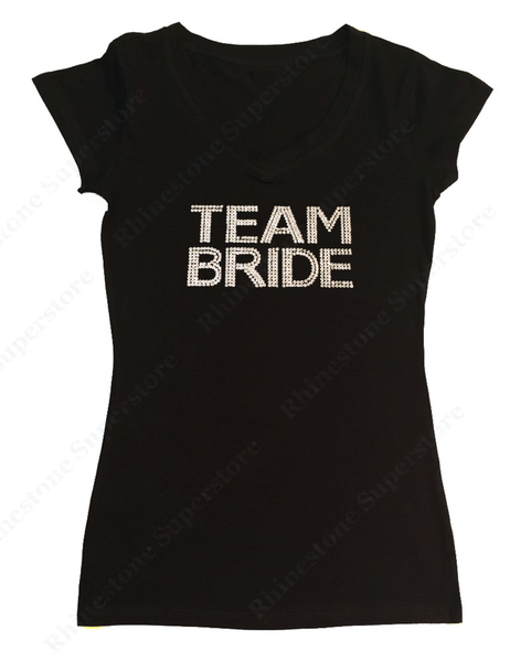 Womens T-shirt with Team Bride in Spangles