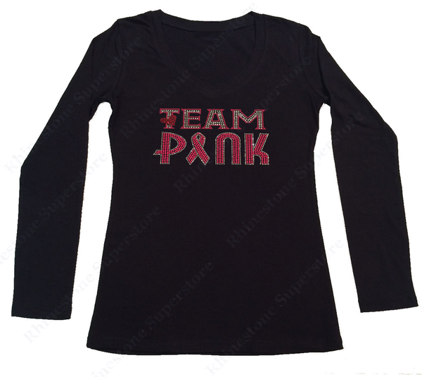 Womens T-shirt with Team Pink Cancer Ribbon and Heart in Rhinestones
