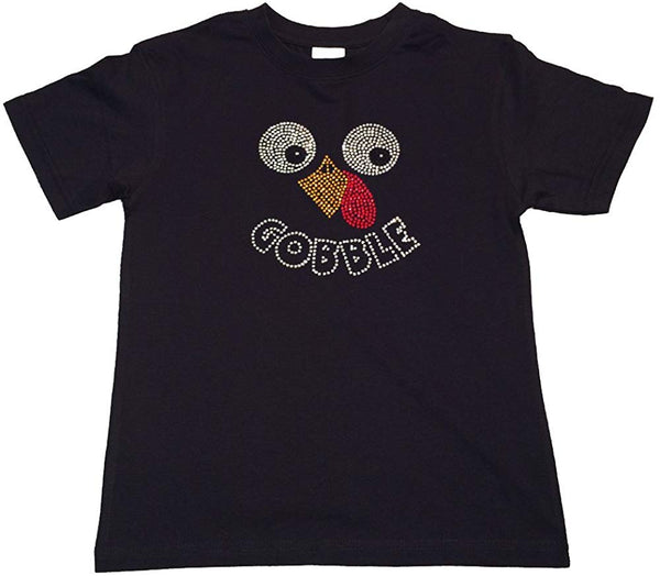 "Rhinestone T-Shirt "" Thanksgiving Turkey Face Gobble in Rhinestones "" Kids Size 3 to 14 Available"