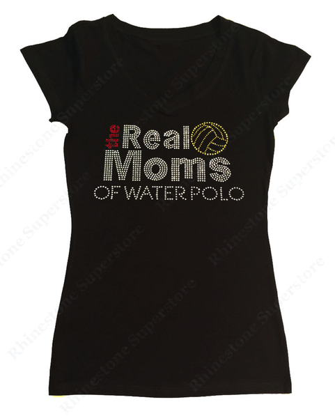 Womens T-shirt with the Real Moms of Water Polo in Rhinestones