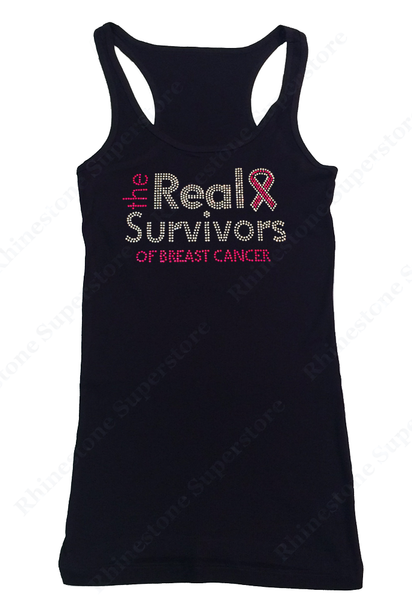 Womens T-shirt with The Real Survivors of Breast Cancer in Rhinestones