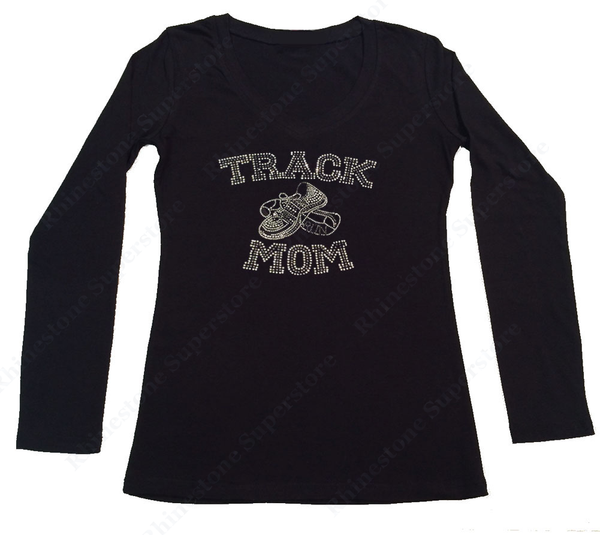 Womens T-shirt with Track Mom in Rhinestones