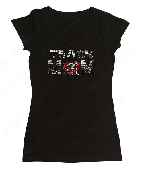 Womens T-shirt with Track Mom with Heart in Rhinestones
