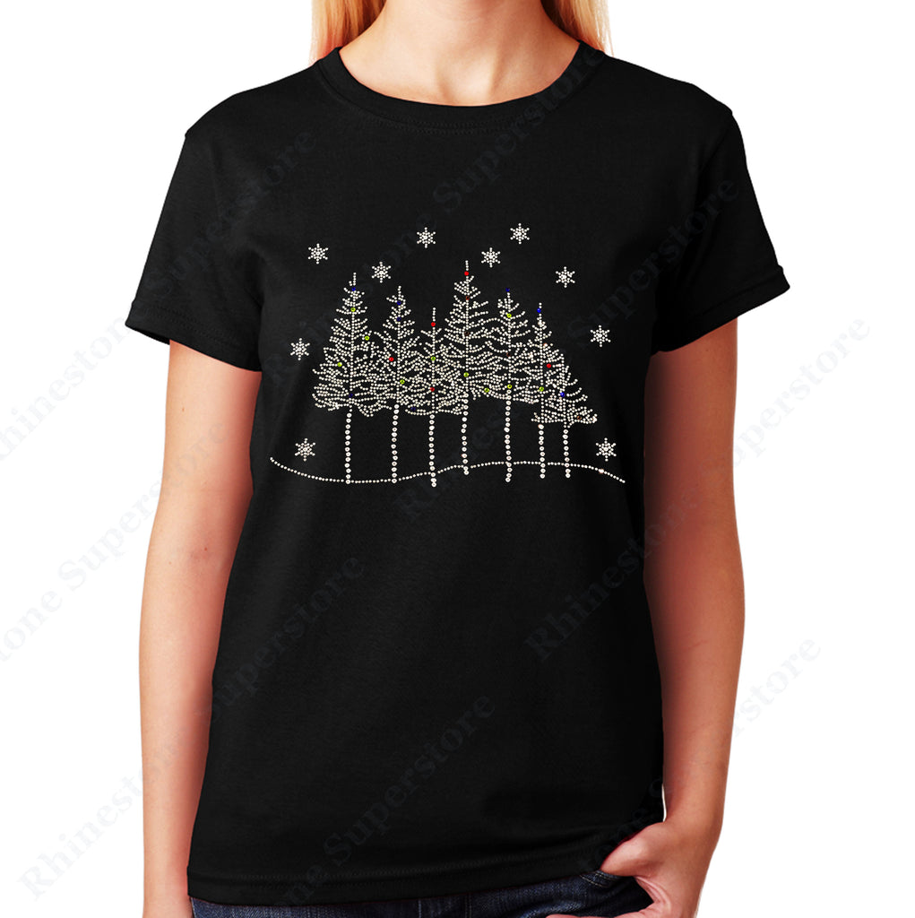 Unisex T-Shirt with Tree Line Scene with Snowflakes in Rhinestones