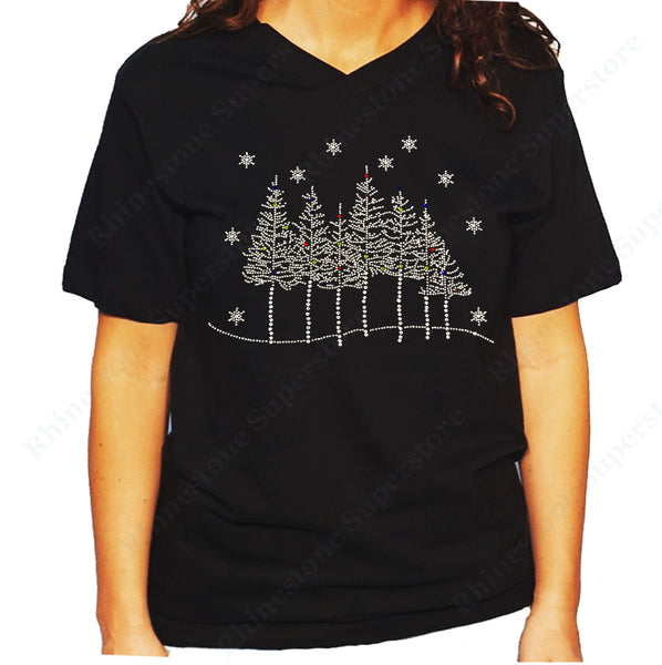 Women's / Unisex T-Shirt with Tree Line Scene with Snowflakes in Rhinestones