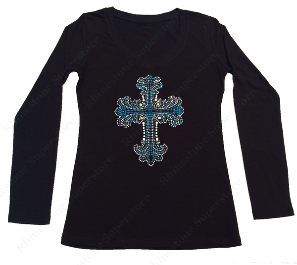 Womens T-shirt with Turquoise Cross in Rhinestones and Rhinestuds