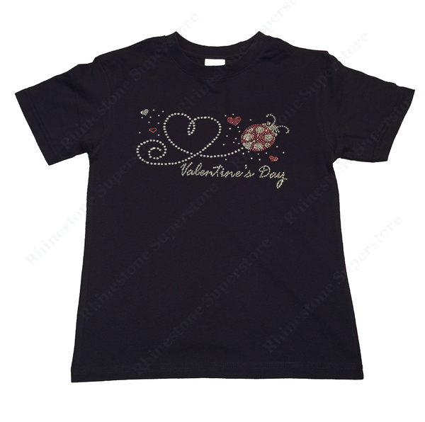 "Girls Rhinestone T-Shirt "" Valentine's Day Heart with Lady Bug "" Size 3 to 14 Available"