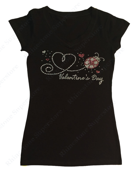 Womens T-shirt with Valentine's Day Heart with Lady Bug in Rhinestones