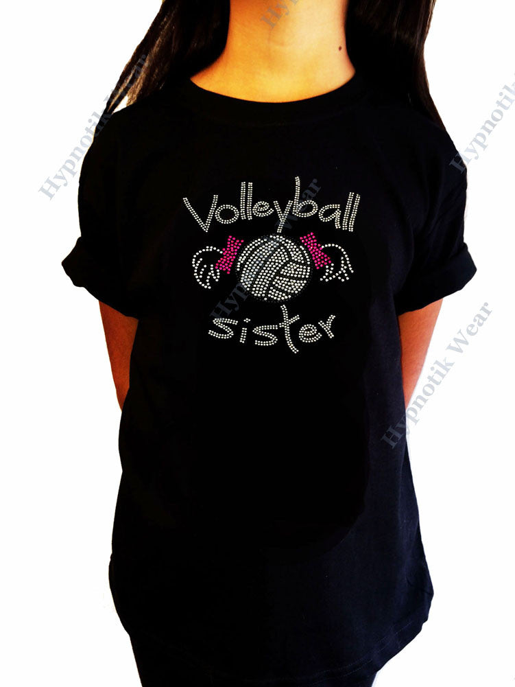 Girls Rhinestone T-Shirt Volleyball Sister w/ Pigtails - Sizes 3 to 14 Available