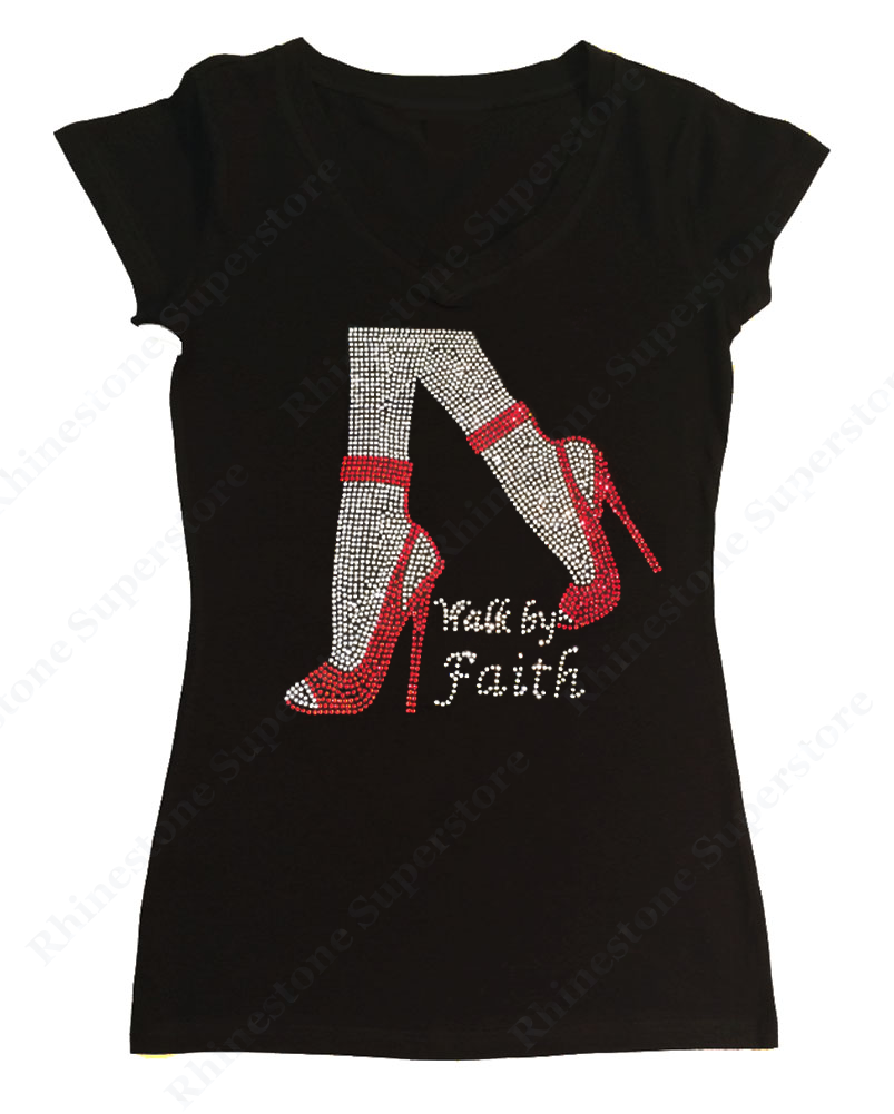 Womens T-shirt with Walk by Faith in Rhinestones