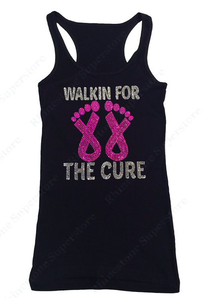 Womens T-shirt with Walk for the Cure Cancer Ribbons in Rhinestones