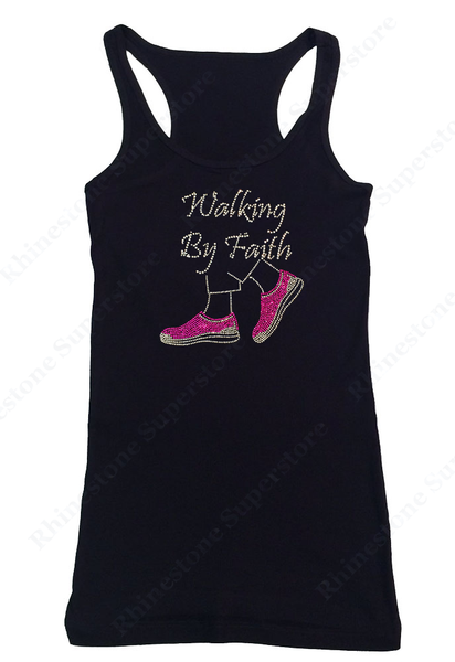 Womens T-shirt with Walking by Faith Pink Shoes in Rhinestones