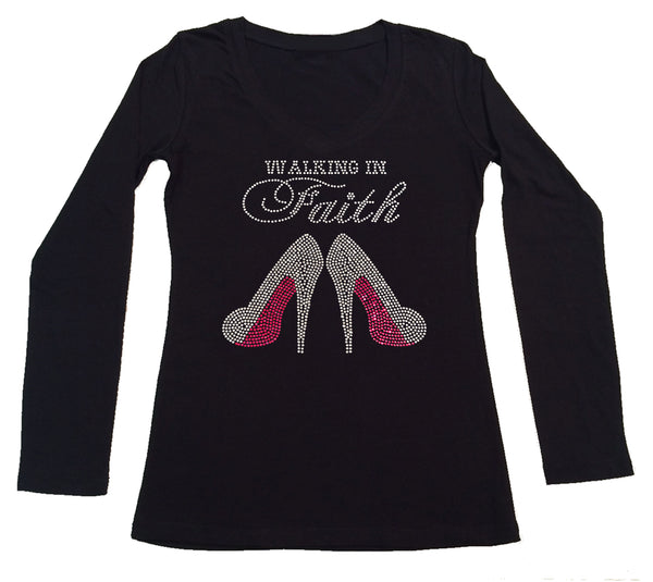 Womens T-shirt with Walking in Faith Pink Heels in Rhinestones