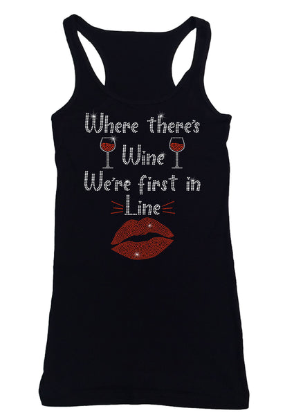 Womens T-shirt with Where there's Wine in Rhinestones