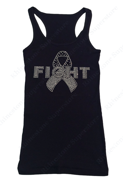 Womens T-shirt White Fight Child Cancer Ribbon in Rhinestones and Rhinestuds