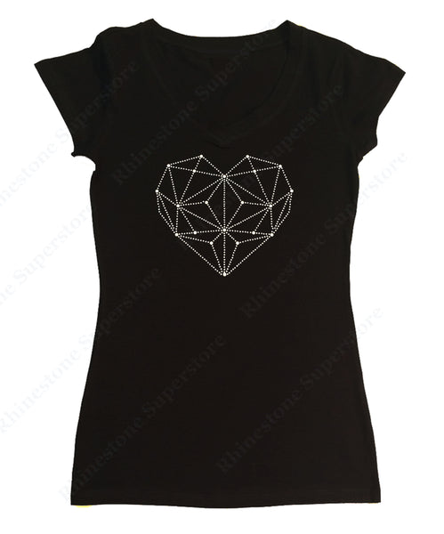 Womens T-shirt with White Heart in Rhinestones