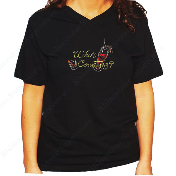 Women's / Unisex T-Shirt with Who's Country, Wine Country in Rhinestones