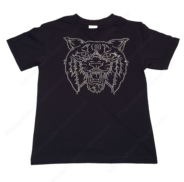 "Girls Rhinestone T-Shirt "" Wildcat or Bobcat "" Kids Size 3 to 14 Available, Mascot"