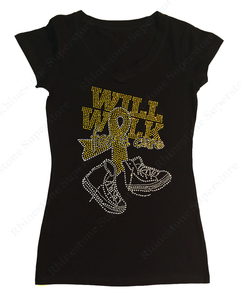 Womens T-shirt with Will Walk for a Cure Sarcoma Bone Cancer Ribbon in Rhinestones