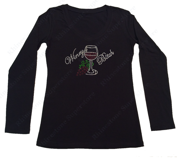Womens T-shirt with Winey Bitch with Wine Glass and Grapes in Rhinestones